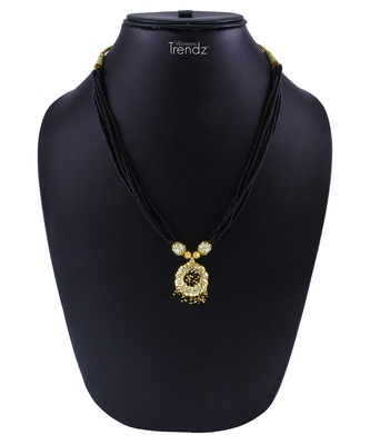 Traditional Handmade White Gold Crystal 24K Gold Plated Mangalsutra Necklace For Womens