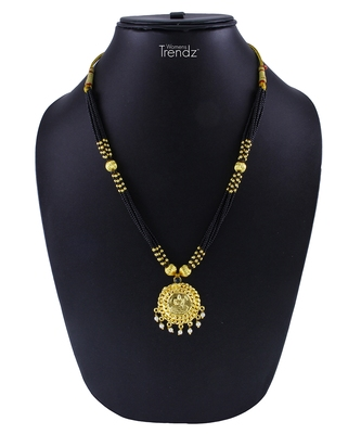 Handmade Traditional 24K Gold Plated Jewellery Laxmi Pendal Mangalsutra for Womens