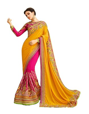 ad4f33d5fb6acc Yellow embroidered georgette saree with blouse - Geet Fashion Solution -  2562952