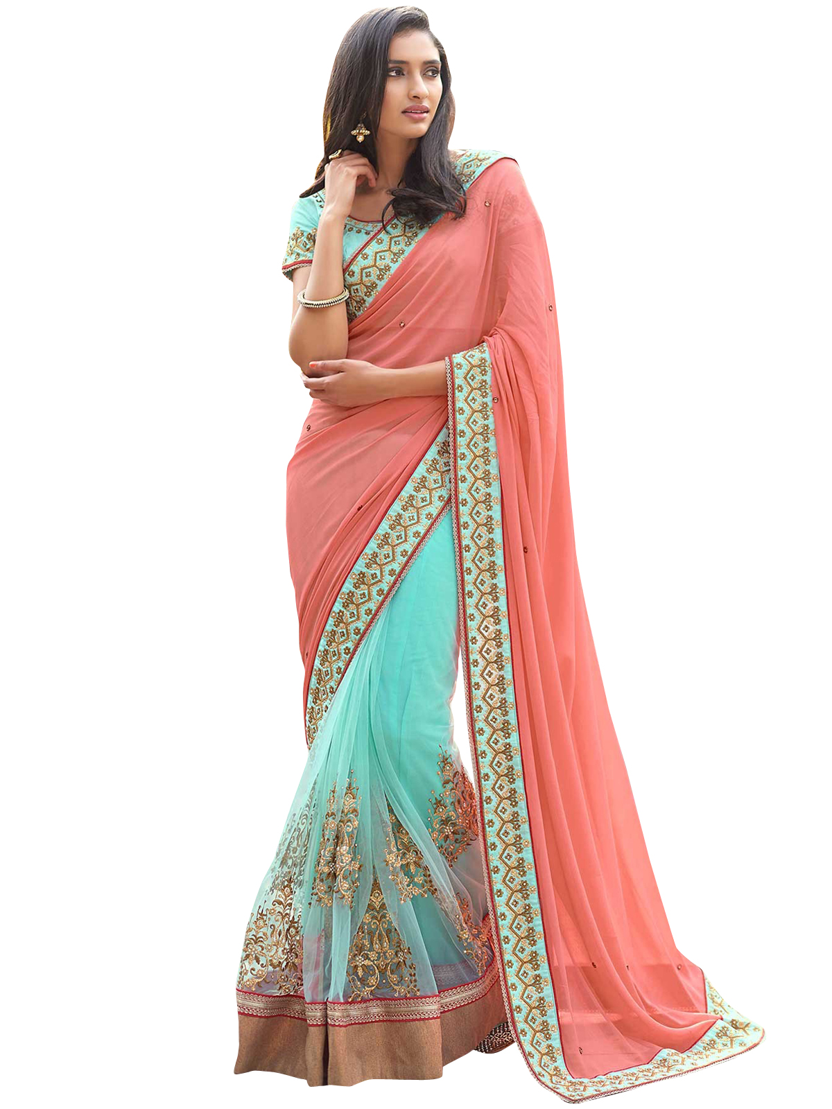 ce25a9cdcf9807 Peach & Blue embroidered georgette saree with blouse - Geet Fashion Solution  - 2562960
