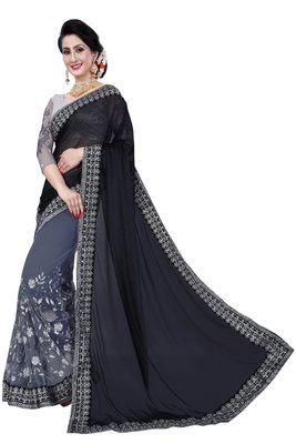 Black embroidered Georgette net saree with blouse