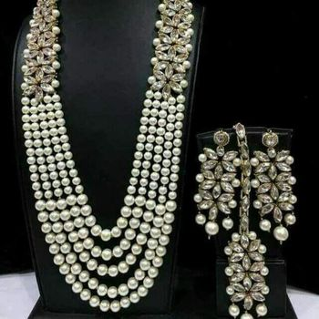 Charming Jewelry Pearl Kundan CZ Long Necklace Earrings Tikka 4pc Set