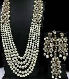 Charming Jewelry Pearl Kundan CZ Long Necklace Earrings Tikka 4pc Set