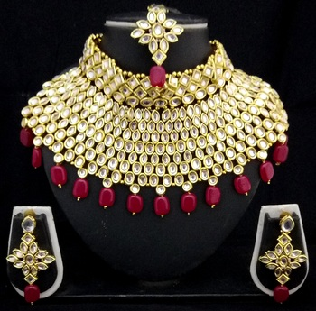 Charming Jewelry Pearl Kundan Choker Bridal Necklace Earrings Tikka 4pc Set