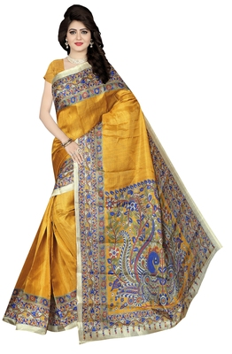 Mustard printed khadi saree with blouse