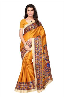 Yellow printed khadi saree with blouse