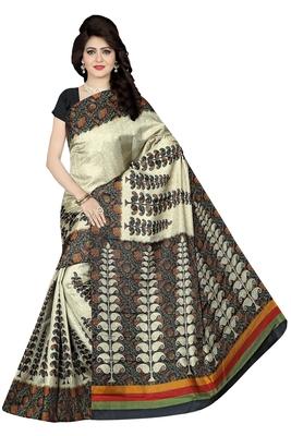 Black printed manipuri silk saree with blouse