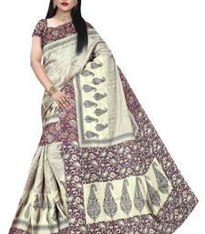 Rani pink printed manipuri silk saree with blouse