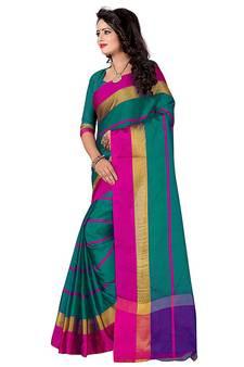 668f0fb4723 Green woven bhagalpuri silk saree with blouse