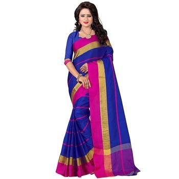 Blue woven bhagalpuri silk saree with blouse