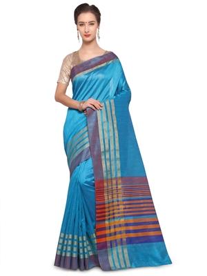 Sky blue plain raw silk saree with blouse