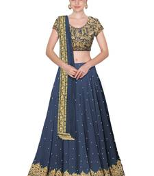 Buy Grey Embroidered Semi Stitched Lehenga Choli Material With Matching Dupatta lehenga-choli online