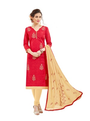 a7d0d77731 Women Red embroidery cotton salwar suits with dupatta - DnVeens ...
