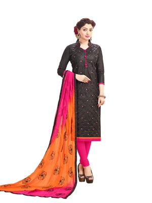 Women Black embroidery Pure Cotton Mirror Work salwar suits with dupatta