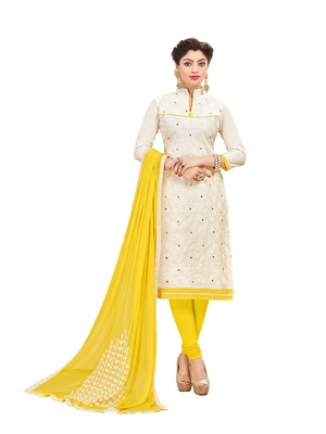 Women White embroidery Pure Cotton Mirror Work Designer salwar suit Material