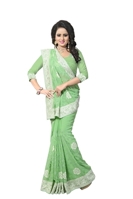 Light green embroidered georgette saree with blouse