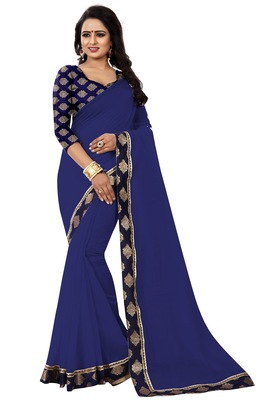 Navy blue plain chanderi saree with blouse
