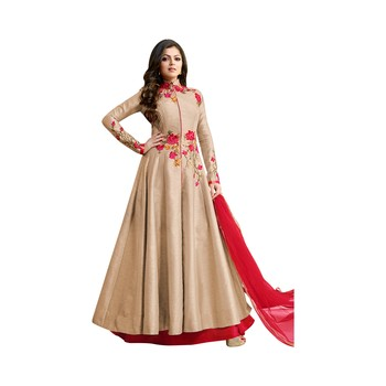Beige Dupion Dupion semi_stitched anarkali ethnic-suits