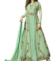 Buy green georgette semi stitched ethnic suits ethnic-suit online