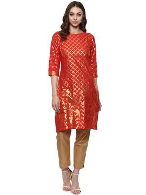 Red printed cotton-kurtis