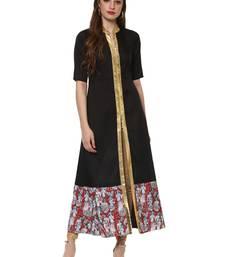 Black printed polyester silk-kurtis