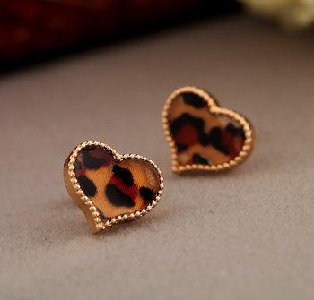Leopard Print Heart Studs