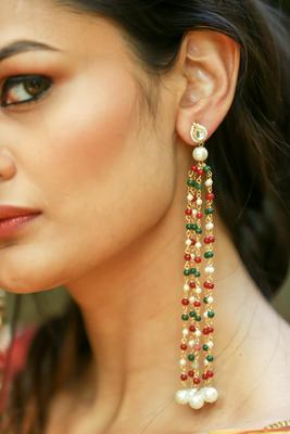 Gold plated kundan with multicoloured stones earings