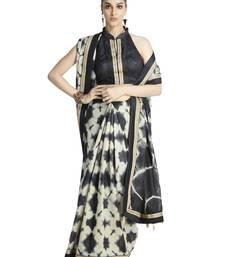 Buy Cream printed faux orrisa handloom saree with blouse printed-saree online