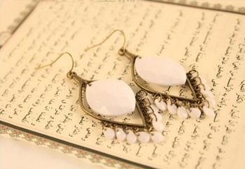 Bohemian White Drop Earrings