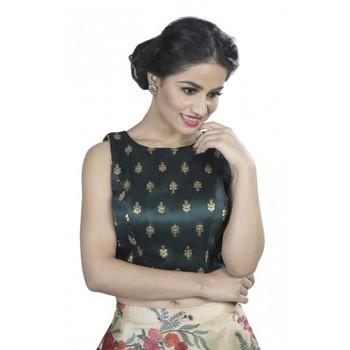 Dark Green Embroidered Long Saree Blouse