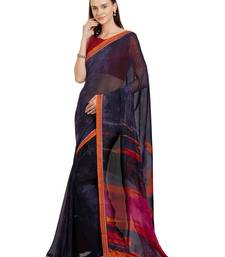 Buy Navy blue printed faux georgette saree with blouse georgette-saree online