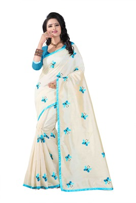 Sky blue embroidered chanderi silk saree with blouse