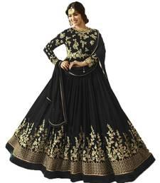 Buy Black embroidered georgette salwar anarkali-salwar-kameez online