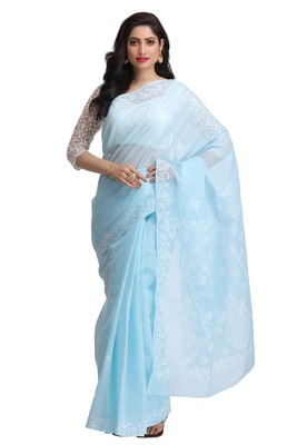Blue embroidered cotton saree with blouse