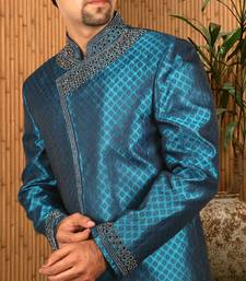 Buy Prince blue brocade indowestern suit achkan online