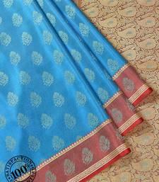 Blue Woven Banarasi saree with blouse banarasi-saree