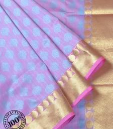 Buy Violet Woven Banarasi saree with blouse banarasi-saree online