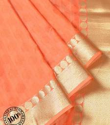 Buy Peach Woven Banarasi saree with blouse banarasi-saree online