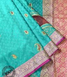 Sea Green Woven Banarasi saree with blouse
