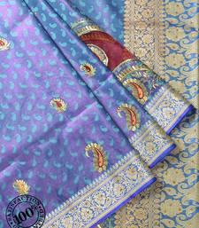 Violet Woven Banarasi saree with blouse