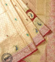 Buy Cream Woven Banarasi saree with blouse banarasi-saree online