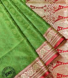 Buy Olive Green Woven Banarasi saree with blouse banarasi-saree online