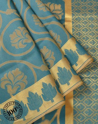 Teal Blue Woven Cotton Silk saree with blouse
