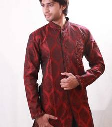 Buy Burgundy satin  indowestern suit achkan online