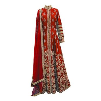 Dark blood red embroidered faux georgette Anarkali Suit
