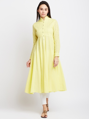 Yellow woven cotton chikankari-kurtis