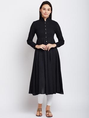Black woven cotton chikankari-kurtis