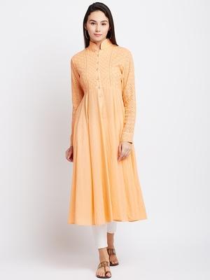 Orange woven cotton chikankari-kurtis