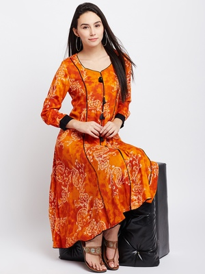 Orange printed viscose rayon kurti