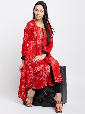 Red printed viscose rayon kurti